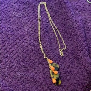 Tortoise and coral teardrops necklace